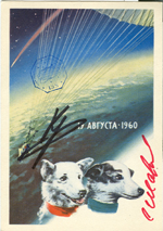# sd100 Old 1962 Belka-Strelka card flown in cosmos